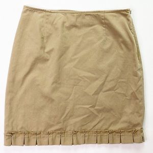 Harold's Vintage Tan Mini Skirt Brown Hem Pleated